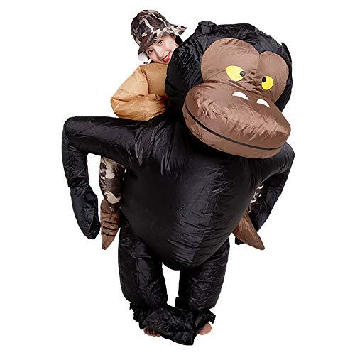 LINAG Aufblasbares Kostüm Unisex Karneval Kostüm, Aufblasbare Gorilla-AFFE Kostüm für Halloween Fasching Kostüm Erwachsenenkostüm,A,OneSize