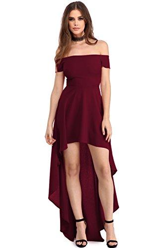 elegante abito cerimonia da donna vestito lungo damigella scollo barchetta festa party, Wine, Large