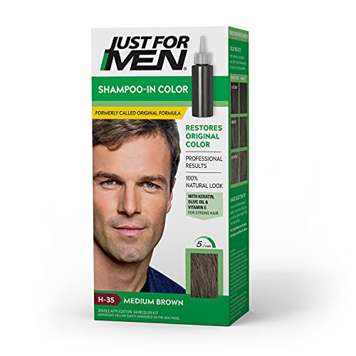 Just For Men Shampoo-In Color (Formerly Original Formula), Gray Hair Coloring for Men - Medium Brown, H-35 (Packaging May Vary)
