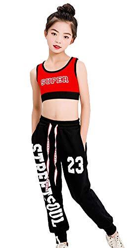 LOLANTA 2-teiliges Mädchen Hip Hop Tanzkleidung Set Kurzer Tank, Kordelzug Jogginghose, Fashion Kinder Trainingsanzug
