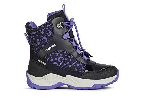 Geox Mädchen Boots SENTIERO Girl WP, Kinder Winterstiefel,lose Einlage, detailreich Freizeit Winter-Boots warm Kids,Black/Violet,27 EU / 9 UK Child