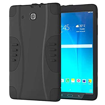 Rugged Case with Screen Protector for Samsung Galaxy Tab E 9.6 - Full Body Heavy Duty Protective Cover for Galaxy Tab E 9.6 - Black