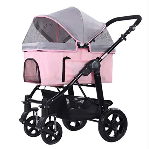 Pet Travel Stroller, Large Dog Cat Pushchair Trolley Portable Folding Pram Jogger Buggy 4 Wheels Outgoing Supplies Box (Color : Pink)