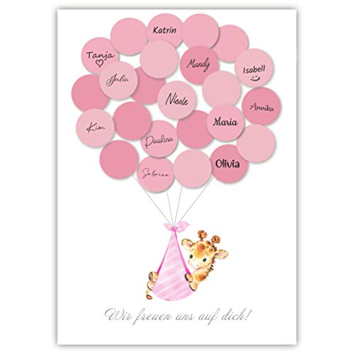 Pandawal Babyparty Mädchen Gästebuch Baby Shower Set Alternative Giraffe (Rosa) Gastgeschenk Taufe Pullerparty Erinnerungsstück/Andenken beschreibbar/Fingerabdruck