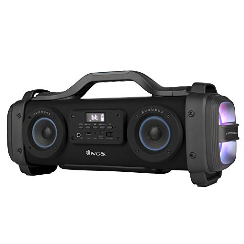 NGS Street Breaker - Boombox Portátil de 200W Compatible con Tecnología Bluetooth y True Wireless (USB/MicroSD/AUX-IN). Color Negro