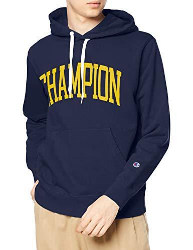 [チャンピオン] パーカー トレーナー 裏毛 長袖 綿100% グラフィックロゴプリント フーデッドスウェットシャツ C3-S112 メンズ ネイビー M