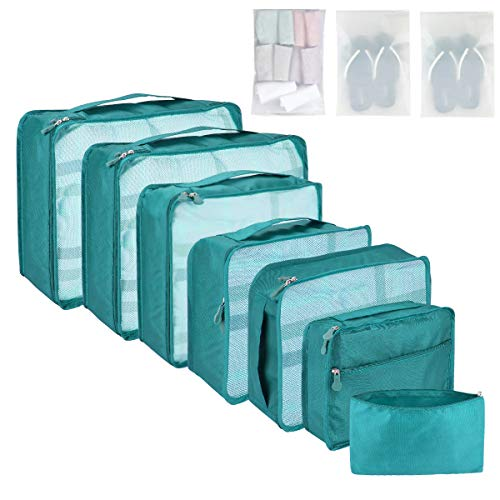 Packing Cubes for Suitcase 10 Sizes Suitcase Organizer Bags 10 pcs Sky Blue