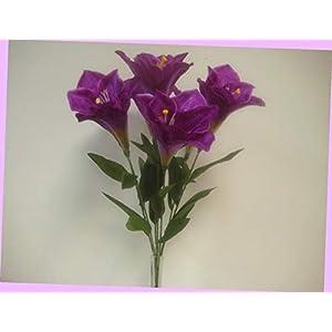 Artificial Purple Deluxe Amaryllis Bush Artificial Silk Flower 25″ Bouquet 7-785pu Flowers Bouquet Realistic Flower Arrangements Craft Art Decor Plant for Party Home Wedding Decoration