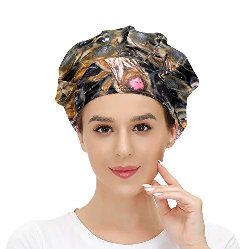 Gorra de trabajo para mujer con banda para el sudor Africano Honeybee Colmena elástica ajustable gorras de trabajo para mujeres hombres talla única bufanda de trabajo multicolor