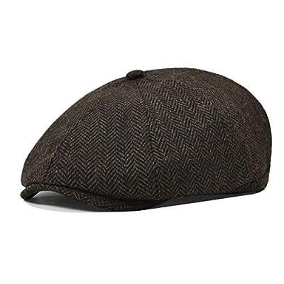 VOBOOM Mens Wool Blend Newsboy Cap 8 Panel Hat Tweed Cap Herringbone Cabbie Flat Cap (Style5)