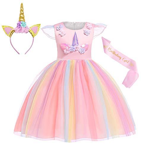 Jurebecia Einhorn Kleid Mädchen Prinzessin Kleid mit Einhorn Head Hoop Einhorn Kostüm Tutu Kleid Geburtstagsfeier Halloween Rosa 5-6 Jahre