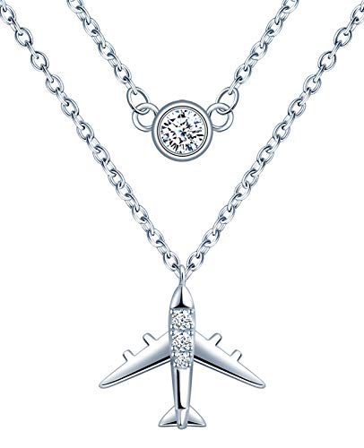 Infinite U-Incrustación de piedra, avión, cadena de doble capa, modelo de avión, collar de moda y personalidad, colgante de circonita de plata esterlina SP25, color: plata