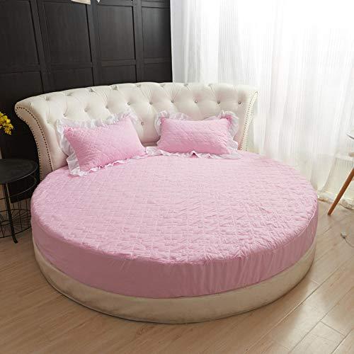 HPPSLT Protector de colchón Acolchado - Microfibra - Transpirable Cama Redonda Falda de Cama de algodón Lavado-sábana Rosada_2.2m