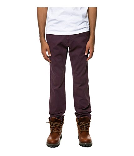 Fourstar Clothing Mens Carroll Chino Casual Trousers, red, 34W x 31L