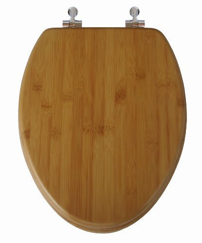 TOPSEAT Native Impression Elongated Toilet Seat w/Brushed Nickel Hinges, Natural Bamboo