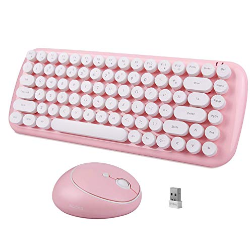 Wireless Keyboard and Mouse Combo, V6060 2.4GHz Cordless Cute Round Key Set Smart Power-Saving Combo for Laptop, Computer, Laptop, Desktop, Note
