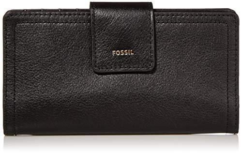 Fossil Women's Logan Faux Leather RFID Tab Clutch Wallet, Black