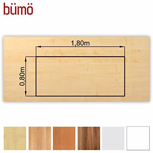 Bümö® stabile Tischplatte 2,5 cm stark - DIY Schreibtischplatte aus Holz | Bürotischplatte belastbar mit 120 kg | Spanholzplatte in vielen Formen & Dekoren| Platte für Büro, Tisch & mehr (Rechteck: 180 x 80 cm, Ahorn)