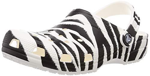 Crocs Women's and Men's Classic Animal Print Clog | Zebra and Leopard Shoes, White/Zebra Print, 9 Women/7 Men