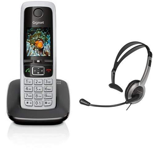 Gigaset C430 Schnurlostelefon (4,6 cm (1,8 Zoll) TFT-Farbdisplay, Dect-Telefon, Freisprechen) schwarz/silber & Panasonic RP-TCA430E-S Headset für KX-TGxx Serie