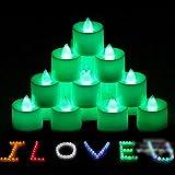 HuntGold 12 Stück Farbe LED Elektronische Kerze Licht Romantik Atmosphären Lampe Tee Kerzen (grün) -