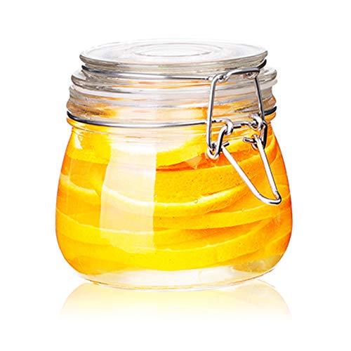 Fari, barattoli in vetro con coperchio ermetico, chiusura a prova di perdite, contenitore rotondo per la cucina inscatolamento cereali, pasta, zucchero, fagioli, spezie (1, 500 ml)