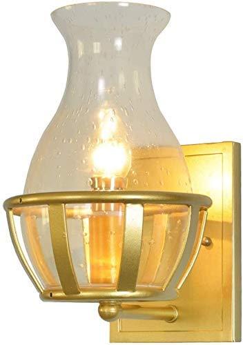 Lámpara de pared industrial retro con pantalla de botella de vidrio Acabado en oro esmerilado Aplique de pared American Country Loft Accesorio de metal E14 para Villa Comedor Balcón Escalera Ilumi
