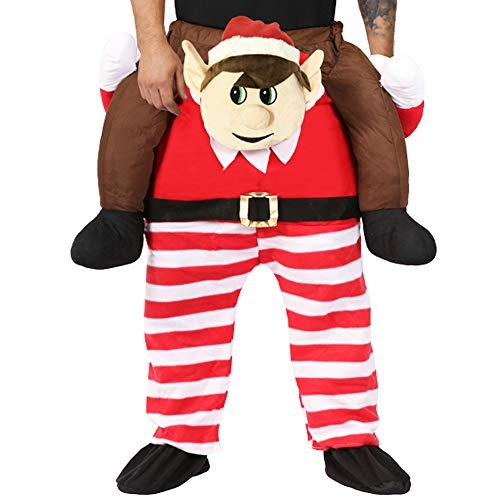 ELF CHRISTMAS COSTUME - ADULTS XMAS FANCY DRESS - ELVES BEHAVIN' BADLY FESTIVE AND FUN ELF RIDE ON LIFT ME UP COSTUME WITH STUFFED LEGS AND ADJUSTABLE ELASTICATED WAISTBAND