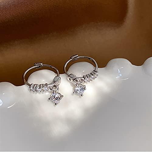 Pendientes para mujeres 925 Sterling Silver Single Fila Zircon Stud Pendientes $158 (Gem Color : Silver)