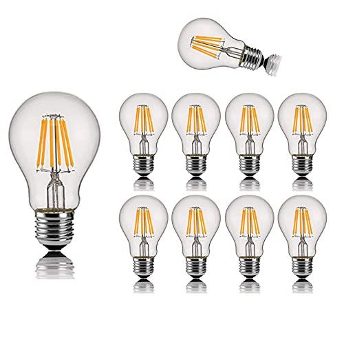 YQGOO Paquete de 10 Bombillas de filamento LED 6w E27 Bombilla de filamento Retro Edison, no Regulable, lámpara incandescente Equivalente de 60w, 360 °;Ángulo de Haz (2200k Amarillo cálido)