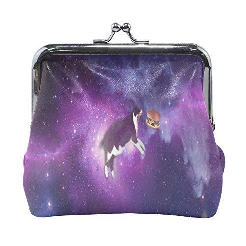 Kiss-lock Purple Star Cat And Burger Cute Coin Purse Wallet Portable Clutch bag
