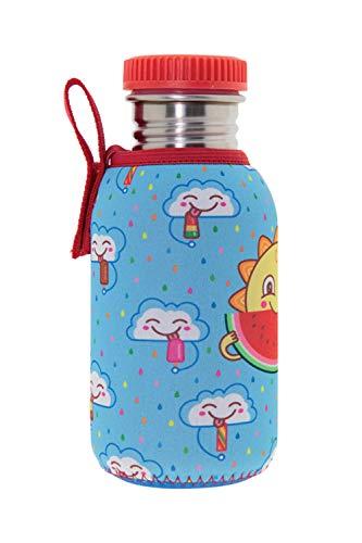 Laken Edelstahlflasche mit Cover, Bottiglia in Acciaio Inox a Parete Singola Bambino, Azzurro, 500 ml