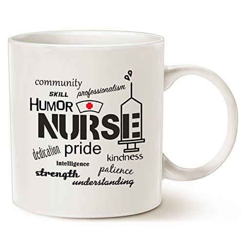 Moson Christmas Gifts Tasse à café avec inscription « Nurse Pride -Attributes », cadeau unique pour infirmière, en porcelaine blanche, 325 ml