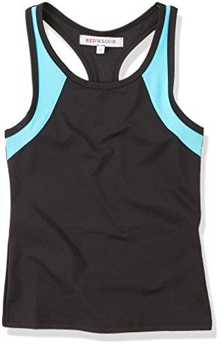 RED WAGON Camiseta Deportiva de Tirantes para Niñas, Negro (Black/menthol Blue), 6 años