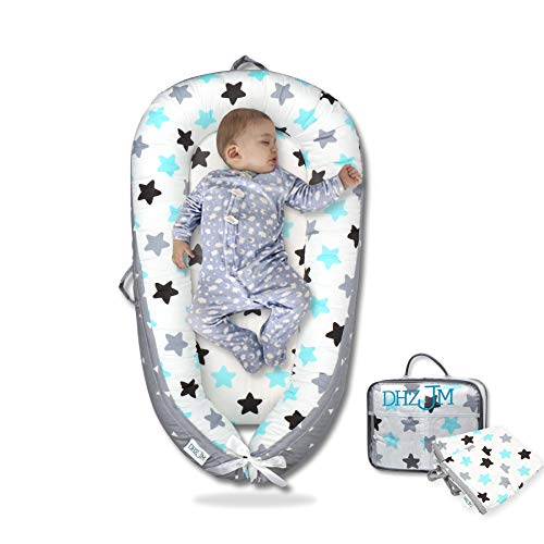 Baby Lounger and Baby Nest Sharing Co Sleeping Baby Bassinet - with Two (2X) Covers100% Soft Cosleeping Baby Bed Premium Quality and Bigger Size (0-24months) -Breathable Portable Crib(Grey)