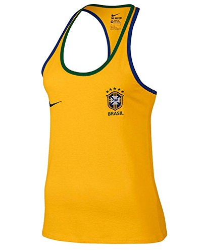 Nike Women's Brasil CBF Crest Tank Top Shirt, Yellow, (Medium)