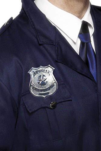 Smiffy's-22480 Placa de policía de Metal, Plateada, Color Plata, No es Applicable (22480)