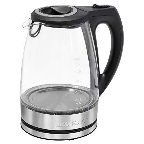 Clatronic Glas-Wasserkocher WKS 3744 G, 1,7 Liter Füllmenge, Glas-/Edelstahlgehäuse, kabellose Technik - leichtes Ein- und Ausgießen, verriegelter Sicherheitsklappdeckel, 360° drehbare Steckverbindung