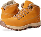 WHITIN Men's Winter Shoes Snow Boots Outdoor Trekking for Weather Warm Work Rubber Insulated Fully Fur Lined Nubuck Leather Hiking Waterproof Lace Up Anti-Slip Military Tan Brown Size 8