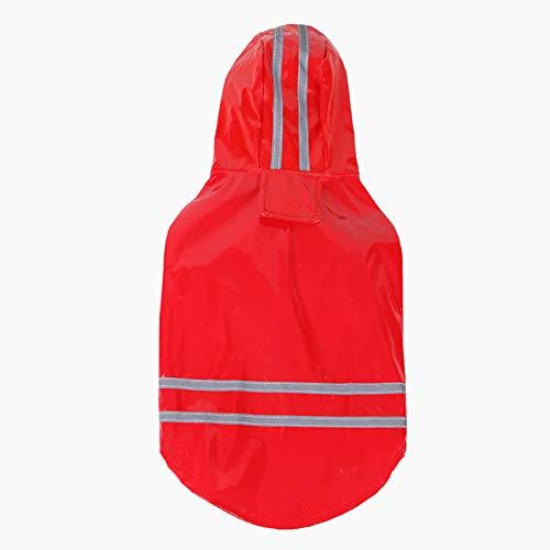 MIANJUMJ Regenjacken Für Hunde,Frühling Sommer Hund Regenmantel Reflektierende Pu-Welpen Pet Regenjacke Mit Kapuze Rot Ultra-Light wasserdichte Kleidung Für Hunde Hund Jacke Jacke, XL