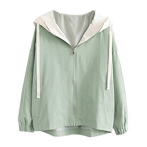 Fantastic Prices! Women's Hooded Coat,Ladies Long Sleeve Drawstring Zip Up Solid Pocket Lightweight ...