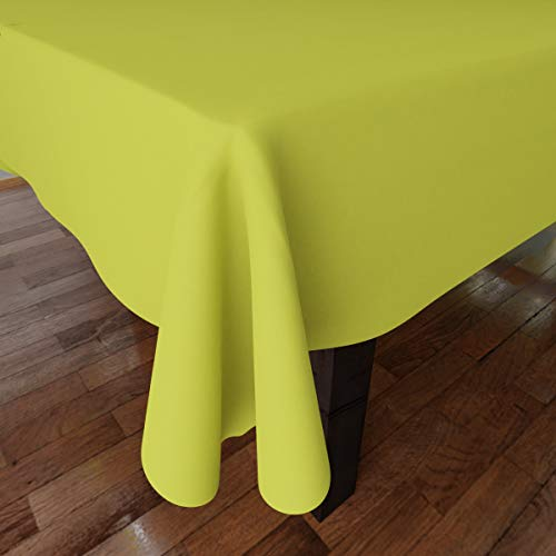 Encasa Homes Plain Colour Cotton Oxford Tablecloth for 6 to 8 Seater Large Dining Table - 142 x 182 cm, Lime Green - Cotton Canvas Fabric, Mercerised, Washable, Rectangular for Home & Restaurant