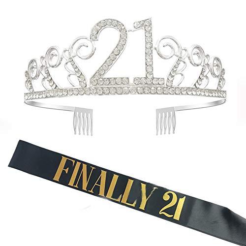 21e anniversaire ceinture et kit diadème, enfin 21 ceinture en satin pailleté noir et 21 couronne d'anniversaire diadème en cristal avec peignes