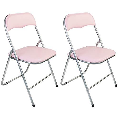 Guilty Gadgets - Juego de 2 sillas plegables acolchadas de metal plateado y PVC, apilables, para exteriores, picnic, jardín, color rosa