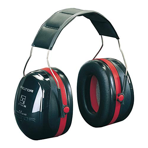 3M Peltor Optime III Earmuffs with Headband, 35 dB, Black/Red – Protection against high noise...