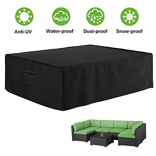 Outdoor Patio Furniture Cover, Waterproof Patio Furniture Set Covers ,420D Heavy Duty Outdoor Sectional Sofa Covers for Rectangular UV Resistant Dining Table Chair Sets Cover 124x 70x 28Inch Black