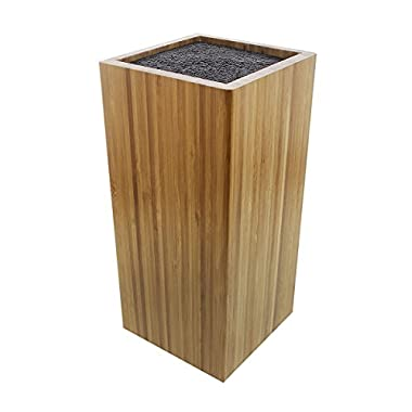 Bamboo Knife Block with Dishwasher Safe Bristles - Natural Universal Knife Stand Holder for Household Kitchen or Restaurant Use - (8.75 x 4 x 4 inches)