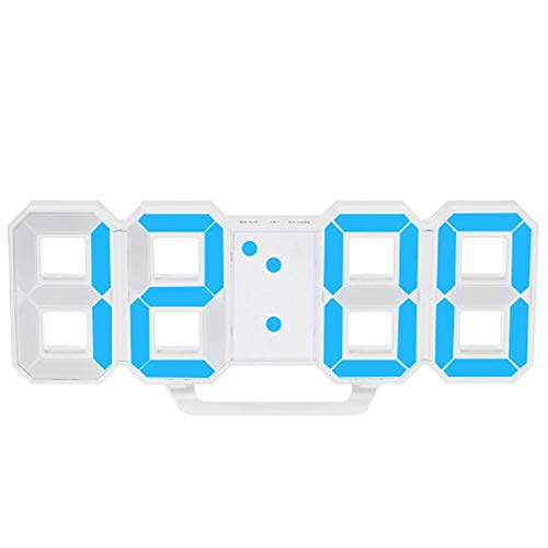 QFLY Digitale wekker, 3D LED, digitale wekker, stereo, woonkamer, klok, muur, wandklok, helderheidsaanpassing, snooze desktop klok