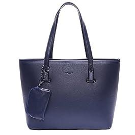 Grand Sac A Main Femme Multipoches – Sac Cabas Fourre-Tout Format A4 – Sac Cours Lycée Similicuir – Sac Ville Shopping…