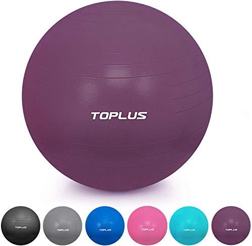 Toplus - Pelota de ejercicio Yoga, antiestallidos y muy gruesa, 65 x 65 cm, balón para yoga, pilates, fitness, color morado